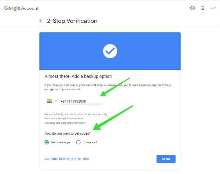 Add mobile no to 2 step verification